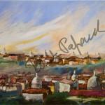 Panorama di Roma. Quadro di Enrico Renato Paparelli, pittore Roma.