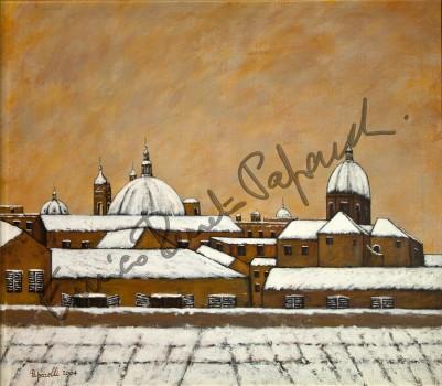 Nevicata a Roma. Quadro di Enrico Renato Paparelli, pittore Roma.