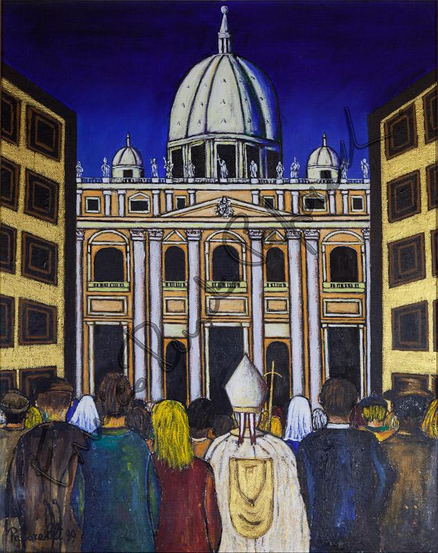 Anno Santo. Quadro di Enrico Renato Paparelli, pittore Roma.