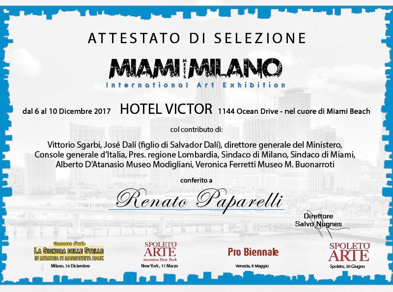 Attestato selezione Miami meets Milano 2017 Renato Paparelli