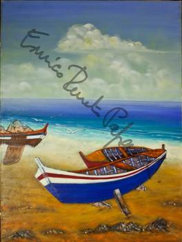 Barche a riposo. Quadro di Enrico Renato Paparelli, pittore Roma.