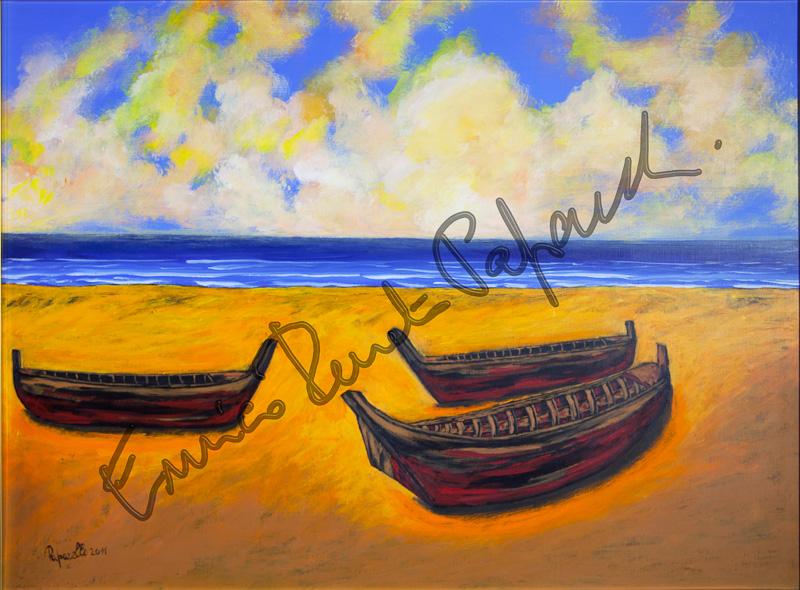 Barche in secca. Quadro di Enrico Renato Paparelli, pittore Roma.