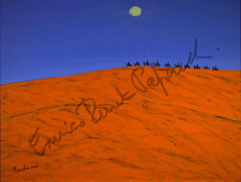Carovana nel deserto. Quadro di Enrico Renato Paparelli, pittore Roma.