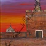 Castel Sant'Angelo. Quadro di Enrico Renato Paparelli, pittore Roma.