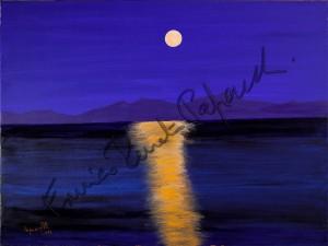 Chiaro di luna a La Maddalena. Quadro di Enrico Renato Paparelli, pittore Roma.