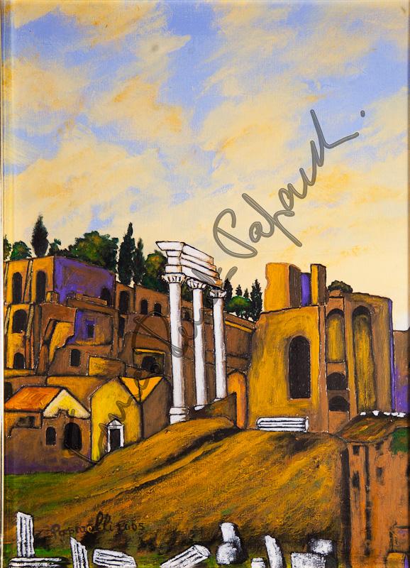 Foro romano. Quadro di Enrico Renato Paparelli, pittore Roma.