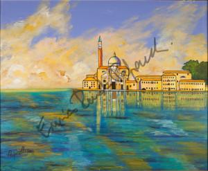Isola di San Giorgio. Quadro di Enrico Renato Paparelli, pittore Roma.