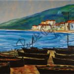 Le barche nere. Quadro di Enrico Renato Paparelli, pittore Roma.