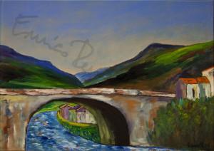 Ponte con paesaggio. Quadro di Enrico Renato Paparelli, pittore Roma