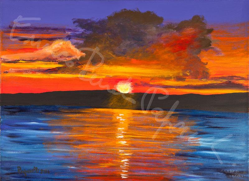 San Feliciano tramonto. Quadro di Enrico Renato Paparelli, pittore Roma