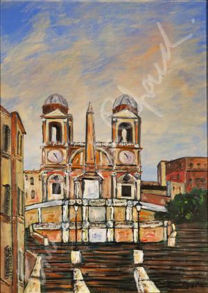 Trinnità dei monti. Quadro di Enrico Renato Paparelli, pittore Roma