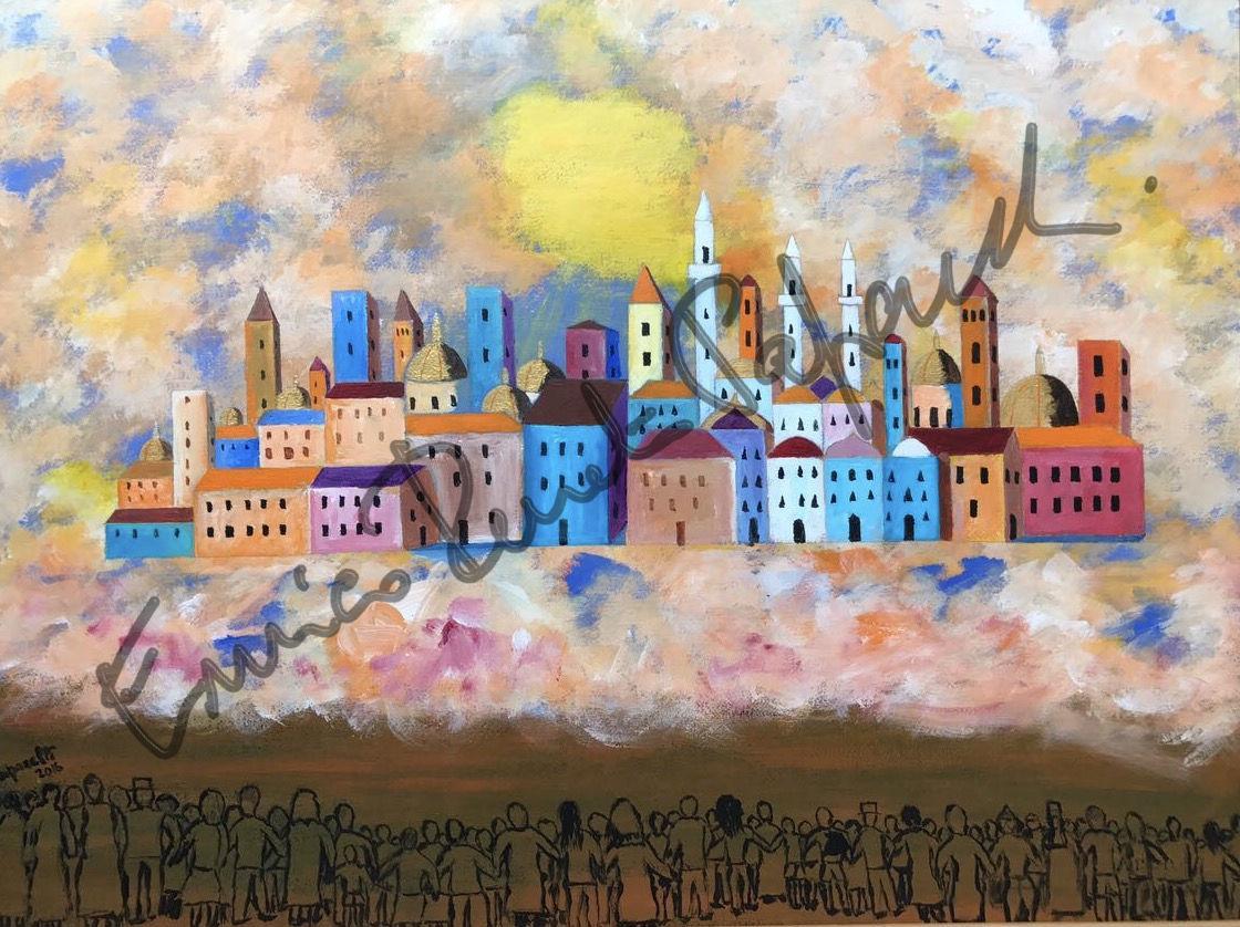 La Gerusalemme celeste. quadro di Enrico Renato paparelli